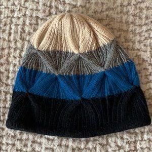 Portolano Black, Gray, Teal, and Tan Cashmere Hat